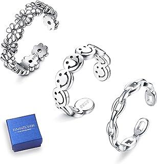 Fansilver 3 件纯银露趾戒指女式可调节指环套装夏季沙滩凉鞋脚饰品
