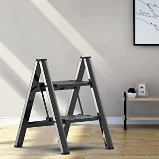 2 Steps 凳梯子 黑色 铝 轻质折叠 带防滑和宽踏板 适用于家庭和厨房节省空间