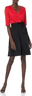 Star Vixen Women's Print Top Skirt Faux-Wrap Dress