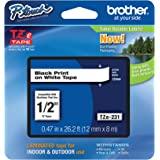 Brother 兄弟 P-touch TZE-231 胶带, 1.2 厘米(1.2 厘米)宽标准层压胶带,黑白层压,适用…
