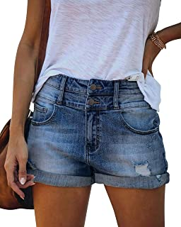 MIFOCAL 女式磨边牛仔夏季牛仔短裤中腰折叠下摆牛仔短裤