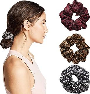 JONKY Bohe 豹纹发绳弹性灰色棉发绳适用于马尾辫发饰防滑发圈女士和女孩(3 件装)