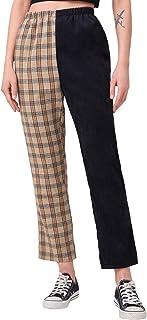 WDIRARA 女式弹性格子印花长裤柔软紧身常规时尚打底裤