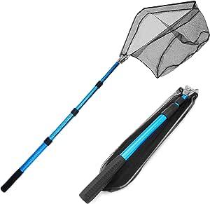 Rainmae 渔网鱼降落网,高级可折叠可折叠伸缩杆手柄,耐用尼龙材料网,*捕鱼或释放鱼(手柄可延伸至46 英寸)