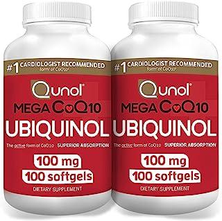 Qunol Mega 辅酶CoQ10 100mg,超强吸收,辅酶Q10水和脂溶补充剂,天然补充剂抗氧化剂,100粒,2件包装