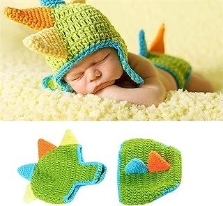 LERORO 新生儿恐龙服装钩针针织服装帽子裤子摄影道具服装套装(*,0-12 个月)