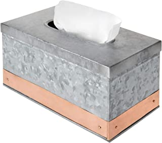 MyGift 银镀锌金属矩形纸巾盒支架带装饰铜带