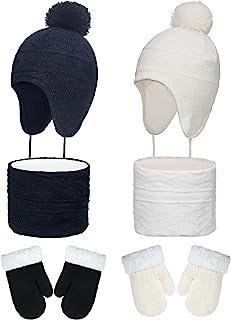 冬季帽子围巾手套套装针织耳罩无檐*帽 幼儿保暖针织手套围巾男女适用白色,深蓝色