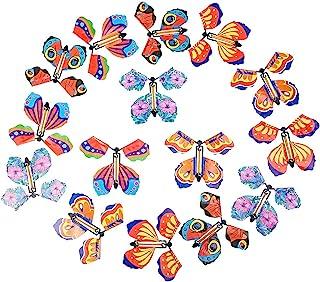 30 件飞行蝴蝶玩具飞翔的蝴蝶橡皮筋发条蝴蝶玩具适合惊喜礼物或派对玩耍圣诞节和新年,5 种风格