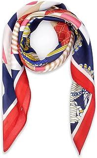 女式方巾,发巾,* 丝绸触感面料涤纶,透气轻质颈领印花头巾