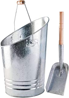 Werkapro 0 煤木壁炉桶户外烟灰缸适用于热或冷灰,带铲子和提手,灰色,镀锌钢