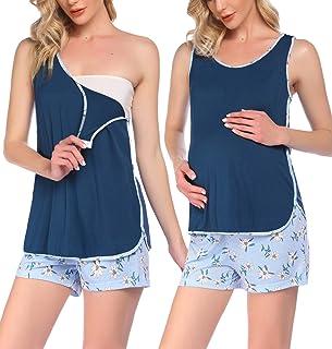 Ekouaer 孕妇哺乳睡衣短裤套装护理家居服哺乳睡衣适用于*家庭