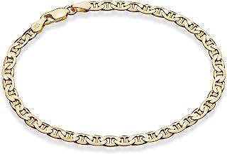 Miabella 18K 金纯银意大利3,4毫米纯钻切割水手链或脚踝女士男士手链,6.5,7,7.5,8,9,10英寸(约25.4厘米),意大利制造