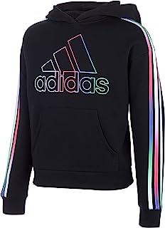 adidas 阿迪达斯女童多色三条纹羊毛套头连帽衫