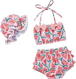 女婴泳装比基尼西瓜印花吊带上衣 + 泳裤 + 泳帽 3 件套泳装沙滩装泳衣