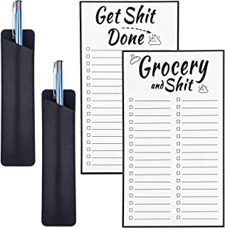 2 件磁性列表笔记本趣味备忘录记事本杂货清单记事本冰箱待办事项列表带笔 PU 皮革标记袋