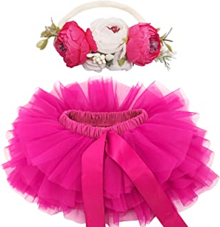 BGFKS 女婴柔软蓬松蓬蓬裙带尿布套,幼儿女孩蓬裙套装带花头带。