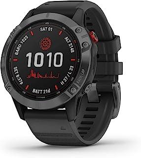 GARMIN 佳明 fenix 6 Pro Solar 太阳能多运动GPS手表,高级培训功能和数据,带黑色表带,深灰色