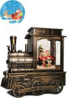 圣诞雪球灯带音乐和投影仪,水闪烁 6 小时计时器电池供电/USB 供电音乐盒适合圣诞节家居装饰和礼物(两名雪人)
