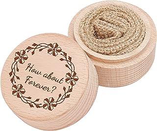 "PH PandaHall 雕刻结婚戒指盒,仪式戒指轴承盒 ""How About Forever"" 戒指碟子收纳盒 戒指轴承枕头盒 用于装饰周年纪念订婚婚礼礼物 2 x 1.5 英寸"