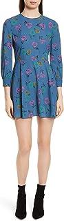 Red Valentino 女式海葵印花绉纱连衣裙,尺码 8 美国 - 蓝色