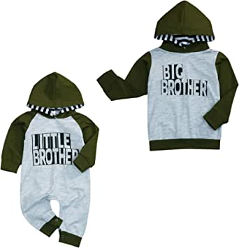 童装新生儿男婴 Little/Big Brother 服装字母印花连帽运动衫连衫裤秋季衣服