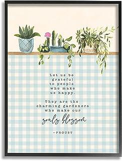 Stupell Industries Let Us Be Grateful 短语园艺绽放隐喻,由 Tammy Apple 黑色带框墙艺术,16 x 20,蓝色