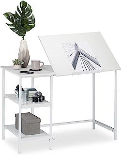 Relaxdays 桌面倾斜,3 个搁架,多个角度,电脑和工作台,HWD:75 x 110 x 55 厘米,颜色选择 白色 75 x 110 x 55 cm 10026046_954