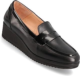 女士乐福鞋 – 黑色全粒面小牛皮一脚蹬坡跟鞋 – 舒适的女式莫卡辛鞋 – Berkshire 皮革鞋垫和衬里