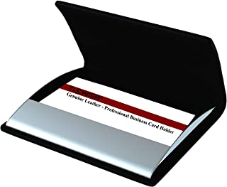 男士女士名片夹 – 真皮优质不锈钢专业钱包式小口袋 – 非常适合旅行 – 保持卡片* – 黑色