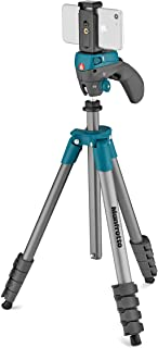 Manfrotto 曼富图 Compact Action 三脚架MKSCOMPACTACNBL  Compact Action Smart blau  (inkl. Smartphone Halterung) 蓝色