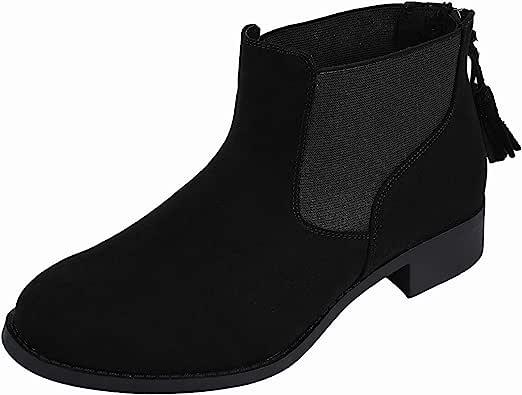 Luoika 女式宽及踝短靴,经典叠层鞋跟侧拉链冬季靴。