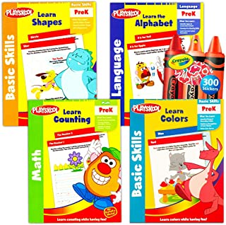 Playskool 幼儿园工作簿套装 -- 4 个幼儿园和*励贴纸学习工作簿(阅读、数学、ABC 书写、反义词) Playskool; Kindergarten Workbooks; Workbooks for Kindergarteners;...