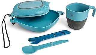 UCO 6 件套露营杂乱套件,带碗、盘子、露营杯和开关叉子餐具套装