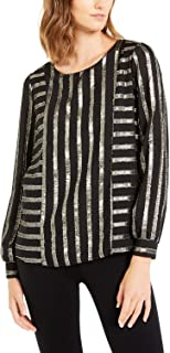Alfani 金色金属条纹长袖上衣 黑色 金色 XL 码
