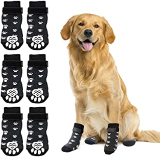 RYPET 防滑狗袜 3 双装 – 狗狗抓地袜带牵引控制适用于室内硬木地板,宠物爪保护适用于小型中大型犬 M 码
