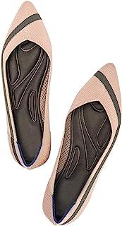 SwiftMovement 女式芭蕾平底鞋 一脚蹬舒适针织尖头平底鞋女式乐福鞋