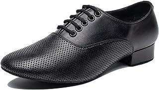 Gogodance 男式男孩透气交际舞鞋拉丁爵士探戈华尔兹黑色皮鞋