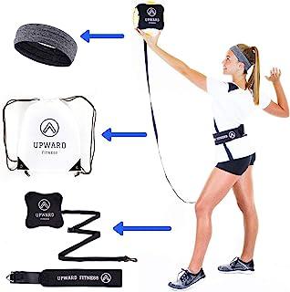 向上健身排球训练器 - 非常适合单身练习 - 精准定球和击球 - 可调节松紧带 - 配有运动头带和抽绳袋