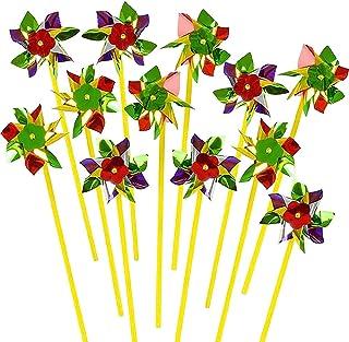 ArtCreativity 彩虹风车 - 36 个装 - 多色风车,庭院 - 花园风车,旋转风车轮,适用于派对喜爱和户外草坪装饰