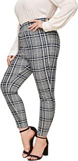 MakeMeChic 女式加大码格子印花高腰裤