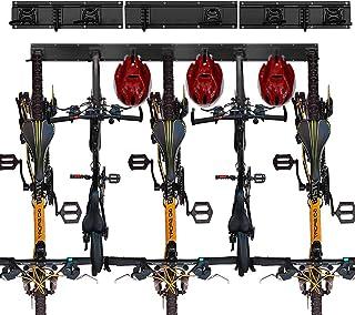 壁挂自行车存储架可容纳 5 辆自行车和 3 个头盔,以节省车库空间,可调节重型自行车壁挂架适合所有自行车,甚至沙滩巡洋舰,可容纳高达 50 磅