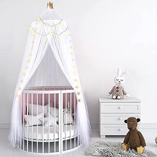 婴儿床公主床罩纱网床罩透气圆顶帐篷婴儿婴儿床皇冠顶篷室内室外城堡悬挂装饰带星星灯串 94.5 x 23.6 英寸儿童房床(白色)