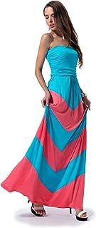 Charm Your Prince Women's Sleeveless Summer Chevron Empire ZigZag Floral Maxi Dress