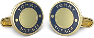 Tommy Hilfiger 男式镀金不锈钢袖扣蓝珐琅