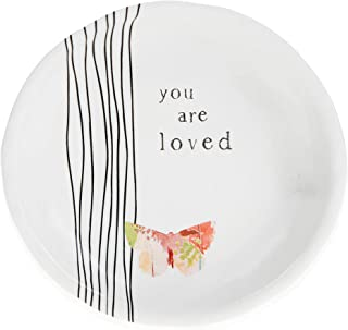 Pavilion Gift Company You are Loved 4 英寸蝴蝶纪念品珠宝饰品盘,白色