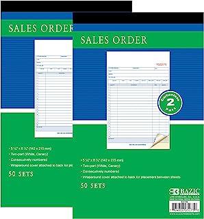 BAZIC 销售订单书,50 套 5 9/16 英寸 x 8 7/16 英寸 2 部分无碳白色和淡金丝雀,装订包裹盖(50 套/包),2 包
