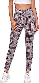 SweatyRocks 女式休闲格子瑜伽裤高腰收腹锻炼打底裤