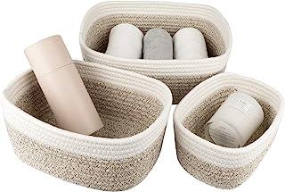 LA JOLIE MUSE 12 英寸(约 30.5 厘米)棉绳编织储物篮 3 件套,可堆叠多功能收纳盒,白色和沙漠色