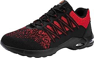 FENLERN 女式钢头鞋 轻便*工作运动鞋 防滑舒适气垫*脚趾步行网球鞋